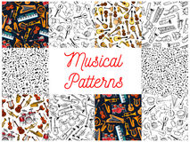 Musical instruments and notes pattern backgrounds Stock Photography