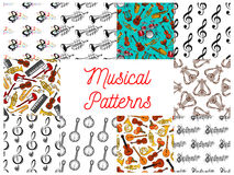 Musical instruments and notes seamless pattern set Stock Image