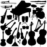 Musical Instruments  - Orchestra. 22 pieces of detailed al musical instrument silhouettes. Jpeg involves paths Stock Image