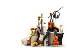 Musical instruments. Orchestra or a collage of music stock photos