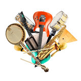 Musical instruments, orchestra. Or a collage of music Stock Photos