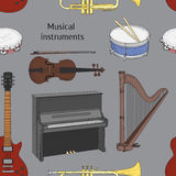 Musical instruments pattern Royalty Free Stock Photos