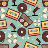 Musical instruments pattern. Retro musical instruments seamless pattern Royalty Free Stock Photography