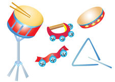Musical instruments, percussion. A selection of cartoon percussion musical instruments Royalty Free Stock Images