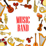 Musical instruments placed around text Music Band Stock Photography