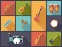 Musical Instruments for Pop, Jazz and Rock icons  illustration. Royalty Free Stock Photography