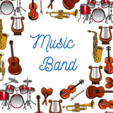 Musical instruments poster for music design Royalty Free Stock Photos