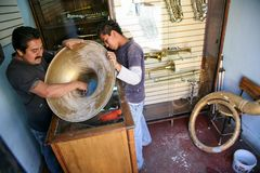 Musical instruments repair in Oaxaca, Mexico Stock Image