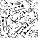 Musical instruments retro seamless pattern Royalty Free Stock Photos