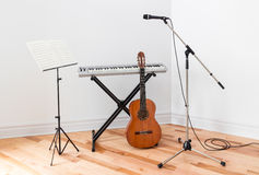 Musical instruments in a room Stock Photo