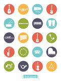 Musical Instruments Round Vector Icon Set Stock Photos