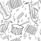 Musical instruments seamless Royalty Free Stock Images