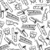 Musical instruments seamless pattern background Royalty Free Stock Photos