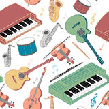 Musical instruments seamless pattern Royalty Free Stock Images
