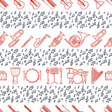 Musical instruments seamless pattern. Vector classic element illustration. Saxophone cello horn guitar piano harp and Stock Images