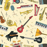 Musical instruments seamless pattern Royalty Free Stock Photo