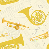 Musical instruments seamless pattern Royalty Free Stock Photography