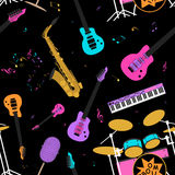 Musical instruments seamless pattern Stock Photos