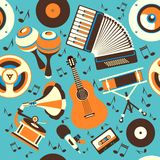Musical Instruments seamless pattern Stock Image