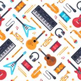 Musical instruments seamless pattern. Vintage piano synthesizer, rock guitar and drums. Music vector flat background royalty free illustration