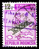 Musical Instruments, serie, circa 1967. MOSCOW, RUSSIA - MARCH 23, 2019: A stamp printed in Indonesia shows Musical Instruments, serie, circa 1967 royalty free stock images