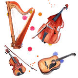 Musical instruments set. Harp, violin, double bass and guitar. Isolated on white background. Royalty Free Stock Photography