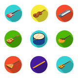 Musical instruments set icons in flat style. Big collection of musical instruments vector symbol stock illustration. Musical instruments set icons in flat design Stock Photography