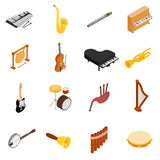 Musical Instruments set icons, isometric 3d style Stock Images