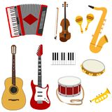 Musical instruments, a set of musical instruments. Flat design,  illustration Royalty Free Stock Photos