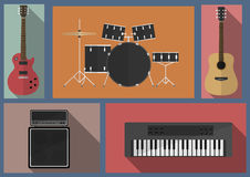 Musical instruments set. Rock musical instruments set. Black drums. acoustic guitar. . Black synthesizer Stock Photography