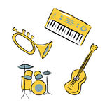 Musical instruments set Royalty Free Stock Photos