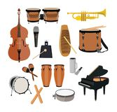 Musical Instruments Set. Vector big set of musical instruments isolated on white background. Flat style design Royalty Free Stock Image