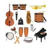 Musical Instruments Set. Vector big set of musical instruments isolated on white background. Flat style design Stock Photography
