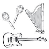 Musical instruments set on white background. Vector illustration. Stock Image
