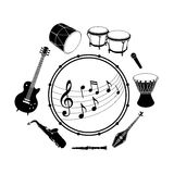 Musical instruments and sheet music Royalty Free Stock Photography