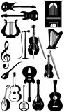 Musical instruments silhouette Royalty Free Stock Image