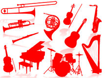 Musical instruments silhouette. To represent music world Stock Photos