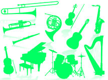 Musical instruments silhouette. To represent music world Royalty Free Stock Images
