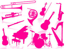 Musical instruments silhouette. To represent music world Royalty Free Stock Photos