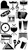 Musical instruments silhouette collection Royalty Free Stock Photo