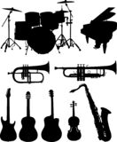 Musical instruments silhouettes collection