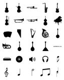 Musical instruments siluets set Royalty Free Stock Photos
