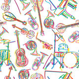 Musical instruments sketch Stock Photography
