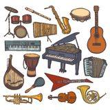 Musical instruments sketch icon Royalty Free Stock Photography