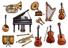 Vector music concert sketch instruments icons. Musical instruments sketch icons. Vector  set of music piano, gramophone or guitar and orchestra harp, trombone Royalty Free Stock Image
