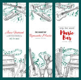Musical instruments sketch, music festival banners Stock Photos