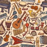 Musical instruments sketch seamless pattern Royalty Free Stock Photos