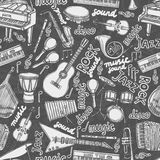 Musical instruments sketch seamless pattern Royalty Free Stock Image