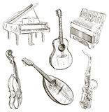 Musical instruments in sketch-style Royalty Free Stock Photography
