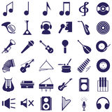 Musical instruments and sound icons on white Royalty Free Stock Images